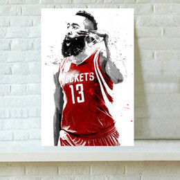 Wholesale Paintings Basketball - HD Printed Sports Art Oil Painting Home Decoration Wall Art on Canvas Basketball Player James Harden 16x24inch