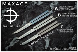 Wholesale Alloy Knife - [ BALIPLUS BLADES ] MAXACE SCORPIUS BALISONG COVENANT LITE VERSION BUTTERFLY KNIFE VG10 BLADE TI HANDLE  Ceramic BALL BEARING PIVOT