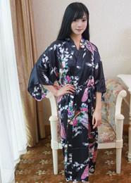 Wholesale Chinese Ladies Dresses - Wholesale- Black Chinese Lady Bathrobe Silk Rayon Long Kimono Bath Gown Bridesmaid Wedding Sexy Nightgown Dress One Size T031