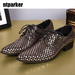 Wholesale Evening Polka Dot Formal Dress - Italian Style Man Leather Shoes Formal Dress Shoes Man Lace-Up Sliver Evening Party Wedding Groom Shoes for Man,38-46