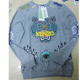 Wholesale Tiger Hoodie Yellow - women's embroidery tiger Sweatshirts mens pullover Hoodies thick with napping Streetwear tracksuit for men