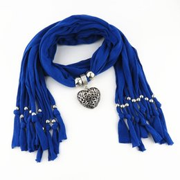 Wholesale Purple Scarf Jewelry - 2017 boho Hollow out love Scarves Pendant Necklace Women Jewelry long Tassels multicolor collar choker Scarf cappa wholesale free shipping