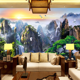 Wholesale Free Scenery Wallpapers - Free Shipping 3D Stereo Custom Wall Painting Wallpaper TV Background Wall Sofa Bedroom Mountain Scenery Wallpaper Mural