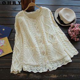 Wholesale Mori Plus Size - Wholesale-2016 Autumn Winter Mori Girl Style Plus Size Women Cardigan Solid Color Sweater Knitted Cotton Short Jacket Fashion Girl's Coat