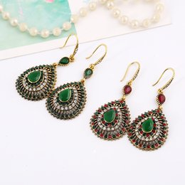 Wholesale Post Drop Earrings - Post promotional retro Bohemia national wind full of water drop shaped alloy earrings