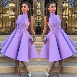 Wholesale Teens Sexy Satin - Celebrity High Neck Prom Dresses 2017 Short A-Line Tea-Length Fashion Party Dress With Applique Teen Girl Evening Gowns Cocktail Dresses