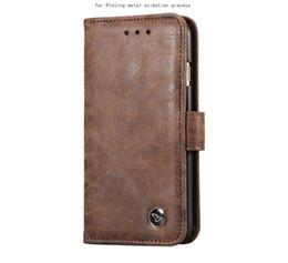 Étui en cuir pour iphone en Ligne-Etui en cuir de luxe Pour iphone X 8 7 6 s plus Samsung note 8 S8 S7 edge Portefeuille Flip Stand Stand style livre