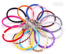 Wholesale European Leather Bracelets Mixed Colors - 925 Silver Jewelry European Braided Leather Beads Bracelets Fit Gift Mix Colors 120pcs Free Shipping