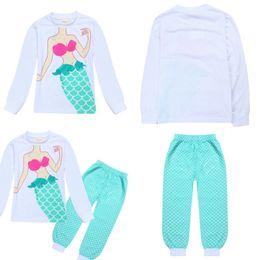 Wholesale Kids Fishing Shirts Wholesale - Kids Pajamas Baby Boys Girls Homewear Long Sleeve T-shirt Fish Scale Pants Mermaid Sets Cartoon Sleepwear