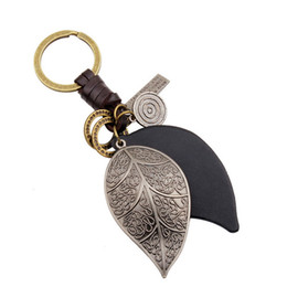Wholesale Key Chain Leave - Punk Genuine Leather keychain bag pendant Alloy leaves Car key chain Wedding Favor Keyring DHL Free Shipping