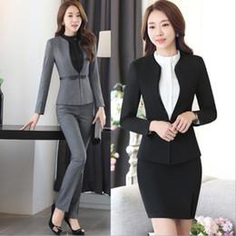 Wholesale Women Two Piece Formal Set - Uniform Design Blue Black Grey Formal Business Pants For Women Office Work Woman Trousers Suits Ladies Blazer Set With Pants 3XL 4XL