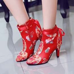 Wholesale National Trend Boots - 2016 autumn and winter trend national embroidery red tang suit vintage pointed toe boots married bridal shoes high-heeled thick