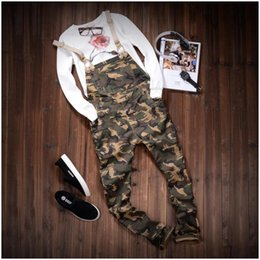 Wholesale Army Jumpsuit - Wholesale-2016 Autum Mens Fashion Army Green Camouflage Slim Straight Stretched Twill Bib Overalls Casual Pants Denim Jumpsuits Jeans 290