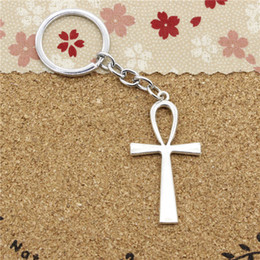 Wholesale Egyptian Rings - 15pcs Fashion Diameter 30mm Chrome plate Key Ring Metal Key Chain Jewelry Antique Silver cross egyptian ankh life symbol 52*28mm Pendant