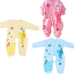 Wholesale Baby Cartoon Romper Suit - Wholesale- Baby Boys Romper Girls Jumpsuit Kids Clothing Newborn Animal Baby Body Suit Cartoon Long Sleeve Clothes made by cotton