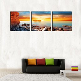 Wholesale Sunrise Painted Walls - 3 Panels Canvas Wall Art Sunrise Seaside Picture Prints Modern Artwork Seascape Painting Canvas Art with Wooden Framed for Home Decor