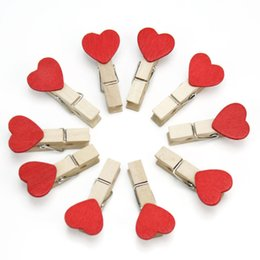 Wholesale Heart Paper Clips - 50Pcs Red Heart Mini Wooden Clips Card Photo Paper Clip Wedding Party Decor DIY Craft Gift Stationery Supplies