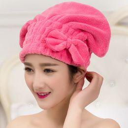 Wholesale Eco Fiber - Wholesale- Sweet Candy Color Bow Water Absorption Superfine Fiber Hair Dry Cap Shower Cap Bathroom Cap