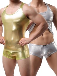 Wholesale Lingerie For Male - Wholesale- Plus Size M L XL Mens Sexy Vest Faux Leather Gold Silver Tank Tops For Male Gay Wear T Shirts Men's Undershirts Lingerie Tees