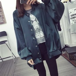 Wholesale korean lady s new coat - Wholesale- New 2016 Autumn Fashion Women's Sleeves Bomber Jacket Ladies Korean Style Satin Coat Manteau Femme