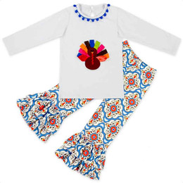 Wholesale Turkey Clothes Wholesalers - Thanksgiving Baby Girls Clothing Set Autumn Long Sleeve Girls Top Ruffle Pants Kids Clothes Turkey Printed Cute Girls Clothes