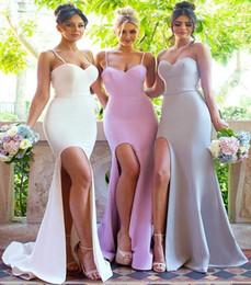 Wholesale Mermaid Brides Maids Dresses - 2017 Sexy Summer Weddings Mermaid Side Split Bridesmaid Dresses Backless Spaghetti Straps Plain Bride Wedding Reception Maid of Honor Gowns