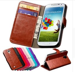 Wholesale Cove Case S4 - S4 Luxury Wallet With Card Holder Stand PU Leather Case For Samsung Galaxy S4 i9500 SIV Phone Bag Vintage Cove