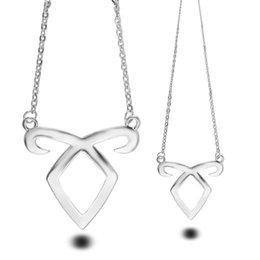 Wholesale City Hearts - Pendant Necklace Women Men Fashion Alloy Golden Silver Film Angel Power Mortal Instrument Clavicle City of Bones Pendants Necklaces