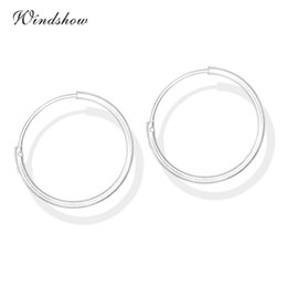 Wholesale Body Circle Jewelry - Wholesale- 6 Size Real 925 Sterling Silver Round Circles Small Endless Hoops Earrings For Women Baby Girls Kids piercing Body Jewelry Gifts