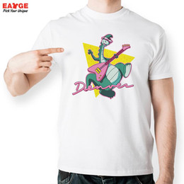 Wholesale Red White Blue Guitars - Denver The Last Dinosaur Playing Guitar Rock And Roll T Shirt Design T-shirt Cool Funny Tshirt Style Unisex Printed Fashion Tee