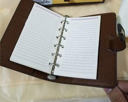 Wholesale Spiral Notebook Book - Genuine Leather Cover Notebook Famous Brand Diary Notebook Classic Spiral Business Calendar Notepad Travel Journal Agenda Note Book with Box