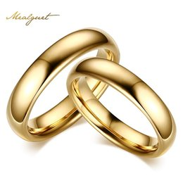 Wholesale Tungsten Carbide Couple - Meaeguet Tungsten Carbide Wedding Rings For Couple Gold Color For Women Men Vintage Lover's Jewelry
