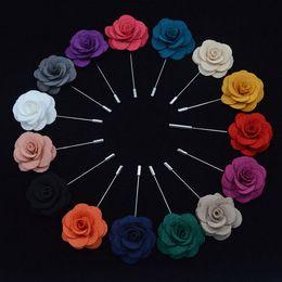 Wholesale Men Wedding Flower Accessories - 22 colors Women Men Silver Camellia Flower Lapel Brooch Pin Suit Tuxedo Wedding Boutonniere Suit Brooch Men's Accessories