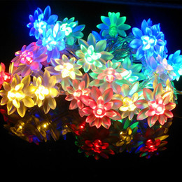 Wholesale Lotus Outdoor Lighting - Wholesale- 50 LED Double Lotus Solar String Lights Waterproof Lotus Flower Fairy Light for Outdoor Christmas Wedding Festival Decoration