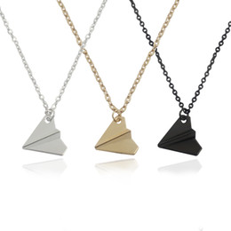 Wholesale Silver Paper Airplane - Trendy Paper Airplane Pendant Necklace Snatch One Direction Pendants Necklaces For Men Women Fashion Jewelry Factory Outlet Wholsale
