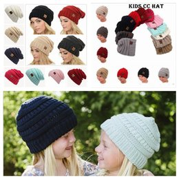 Wholesale Wholesale Adult Christmas Hats - Parents Kids CC Hats Baby Moms Winter Knit Hats Warm Hoods Skulls Hooded Hats Hoods YYA585