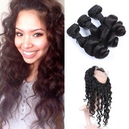 Wholesale Malasian Hair Weave - 360 frontal with 3pcs human hair bundles malasian virgin loose wave hair weaves with 360 lace closure G-easy