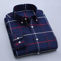 Wholesale Mens Striped Dress Shirt - Long Sleeve Oxford Men Shirts Plaid Casual Business Male Dress Shirt Striped Mens Tops camisa masculina