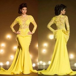 Wholesale Transparent Mermaid Prom Dress Lace Jewels - .Fashion Lace Formal Evening Dresses With Long Sleeves Mermaid Appliqued Sheer Jewel Neck Peplum Prom Dress Yellow Transparent Evening Gowns