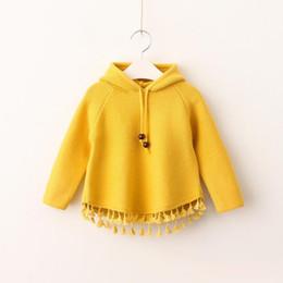 Wholesale Sweater Korean Girl - Girls Knit Tassel Pullover 2017 Baby Girls Hooded Knitted Sweater Kids Girls Autumn Korean Clothes Children clothing