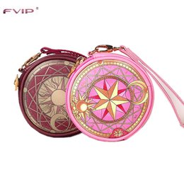 Wholesale Anime Wand - Wholesale- FVIP Anime Card Captor Sakura The Clow Round Wallet Cosmetic Makeup Coin Pouch Sakura Kinomoto Sealing Wand Key Zipper Bag