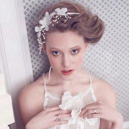 Wholesale Plat White - New 2017 Gold Plat Fashion Handmade Pearl Crystal Bridal Hair Vine Jewelry Wedding Headpiece Bridesmaid Headband Wedding Hair Accessories