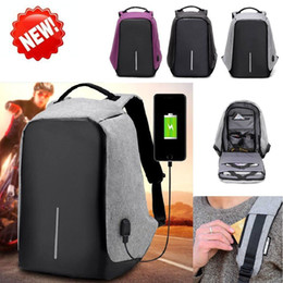 Wholesale Bag Girls Patchwork - Large Capacity Multi - Function Charge Travel Security Bag Anti-Theft Backpack USB Charging