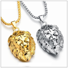 lion head pendant wholesale Coupons - New Vintage Big Classical Lion Head Pendants 18K Real Gold Plated Choker Necklace Floating Charms Jewelry Wholesale