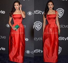 Wholesale Nina Dobrev Floor Length Dress - Nina Dobrev Simple Red Satin Floor Length Wide Strap Prom Dress Golden Globes 2017 Red Carpet Celebrity Dresses Gowns for Party Floor Length
