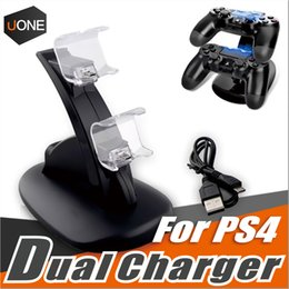 Wholesale Controller Box For Led - Dual chargers for ps4 xbox one wireless controller 2 usb LED Station charging dock mount stand holder for PS4 gamepad playstation with box