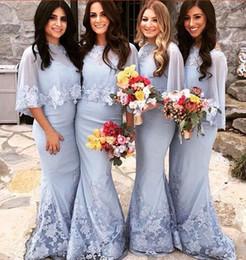 Wholesale Gray Lace Bolero - Elegant Light Lavender Mermaid Lace Bridesmaid Dresses 2017 with Shawl Bolero Maid of Honor Gowns Prom vestido madrinha