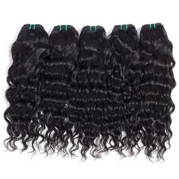 Wholesale Cheap Natural Hair Products - Brazilian Peruvian Cambodian Indian Virgin Hair Bundle Deals Water Wave Cheap Remy Natural Wave Curly Hair Weave Products For Women 6 pcs