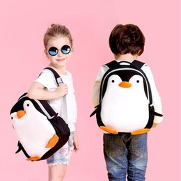 Wholesale Cartoon Penguin Bags - Waterproof School Bag Cartoon 3D Penguin Children Backpack Kindergarten Kids Bag Penguin School Bags Girls Boys Neoprene Animal Schoolbag 73