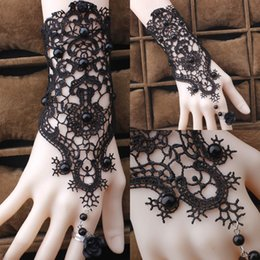 Wholesale Belly Dance Wrist Bracelets - Free Shipping Elegant Belly Dance Lace Gothic Ring Bracelet Wrist Cuffs Bangle Wedding Jewelry For Womens Gift Beach Wedding Dress